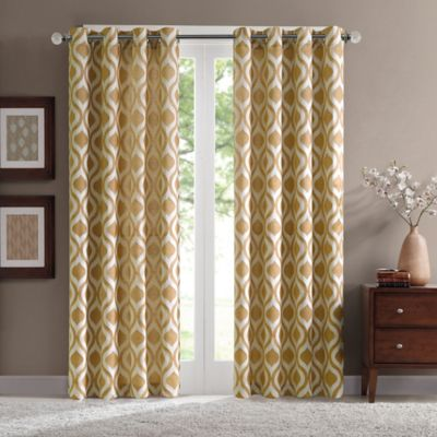 Verona 95 Inch Chenille Window Curtain Panel In Yellow