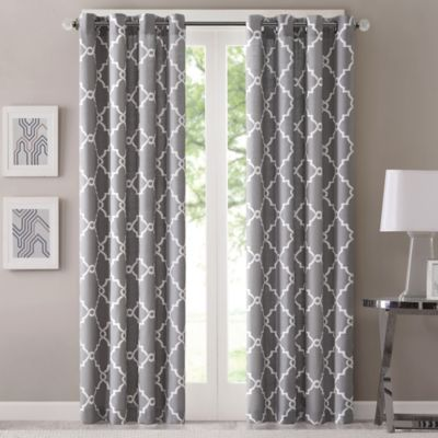 Fretwork 63 Inch Window Curtain Panel In Grey