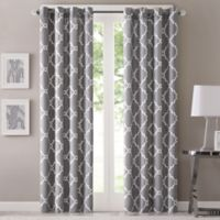 Fretwork 63-Inch Window Curtain Panel in Grey