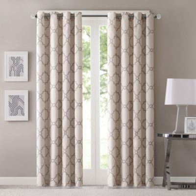 Fretwork 95 Inch Window Curtain Panel In Beige