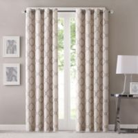 Fretwork 84-Inch Window Curtain Panel in Beige