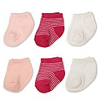 Planet Kids Size 0-6M 6-Pack Quarter Socks in White/Pink