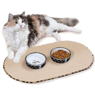 the original taupe pet bowl mat in medium
