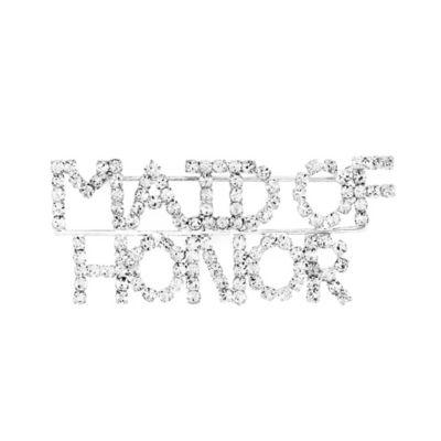 """AMY O. Bridal """"Maid of Honor"""" Rhinestone Brooch"""