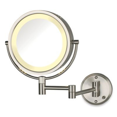 Jerdon 8x 1x Lighted Direct Wire Wall Mount Mirror In Nickel