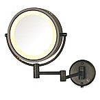 Jerdon 8X/1X Fog-Free Halo Lighted Wall Mount Mirror in Bronze