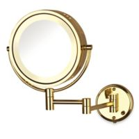 Jerdon 8X/1X Fog-Free Lighted Wall Mount Mirror in Gold/Bright Brass