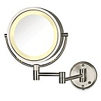 Jerdon 8X/1X Fog-Free Halo Lighted Wall Mount Mirror in Nickel