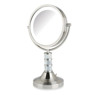 Jerdon 8X 1X Steuben Column LED Lighted Vanity Mirror in Nickel. Buy Jerdon Lighted Mirror from Bed Bath   Beyond