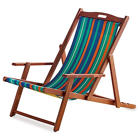 Resort Striped Folding Wood Beach Chair - Resort Striped Folding Wood Beach Chair - Bed Bath & Beyond