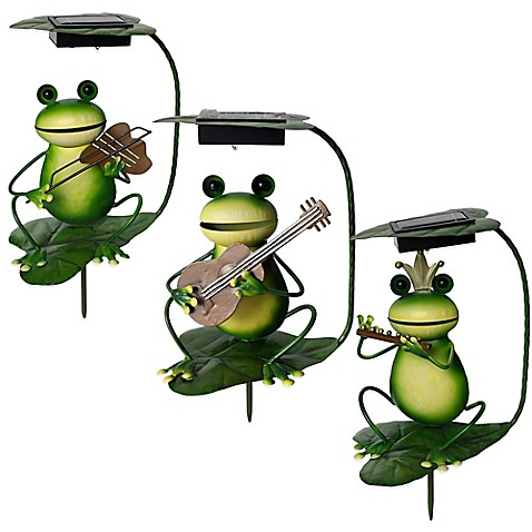 Solar Powered Frog Band Lighted Garden Stakes Bed Bath
