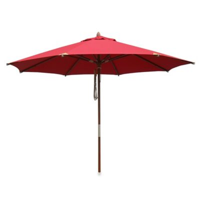 10 Foot Round Deluxe Eucalyptus Wood Patio Umbrella In Salsa