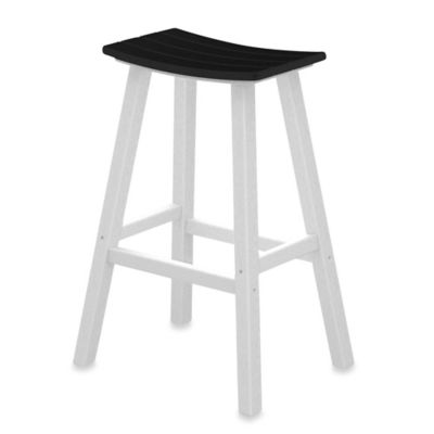 polywood contempo 30inch saddle bar stool in whiteblack