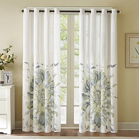 Solange 84 Inch Floral Watercolor Window Curtain Panel