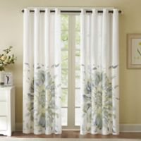 Solange 84-Inch Floral Watercolor Window Curtain Panel in Blue