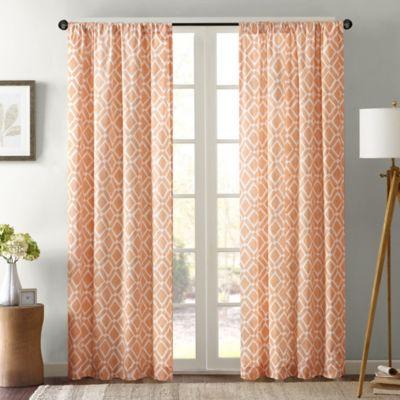 Delray Diamond 42 Inch X 63 Inch Window Curtain Panel In Orange