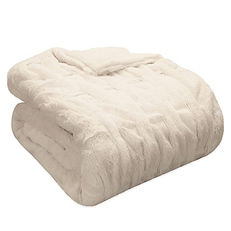 Madison Park Ruched Faux-Fur Throw