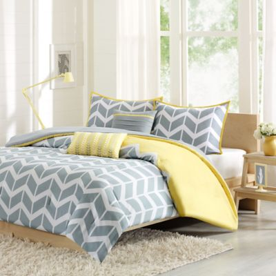 buy yellow grey comforter from bed bath beyond. Black Bedroom Furniture Sets. Home Design Ideas