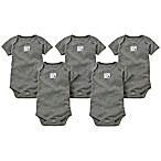 Burt's Bees Baby® Size 0-3M 5-Pack Organic Cotton Short-Sleeve Solid Bodysuits in Heather Grey