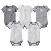 Burt's Bees Baby™ Size 12M 5-Pack Organic Cotton Short Sleeve Bodysuit in Mixed Grey
