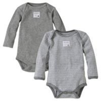 Burt's Bees Baby® Preemie 2-Pack Organic Cotton Long-Sleeve Bodysuit in Heather Grey