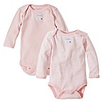 Burt's Bees Baby® Size 6-9M 2-Pack Organic Cotton Long Sleeve Bodysuits in Stripe/Solid Pink