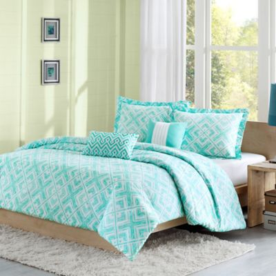 Laurent Reversible Full/Queen Duvet Cover Set In Teal