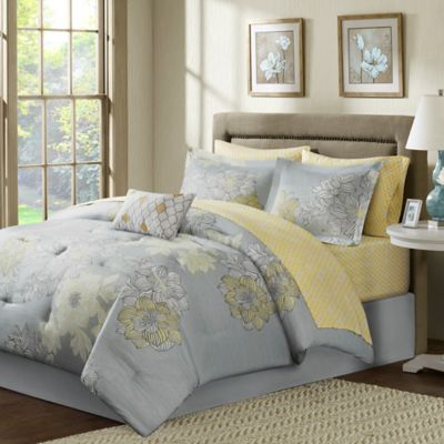 Madison Park Avalon 9 Piece Comforter Set In Grey Bed