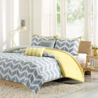 Nadia Reversible King/California King Duvet Cover Set in Yellow