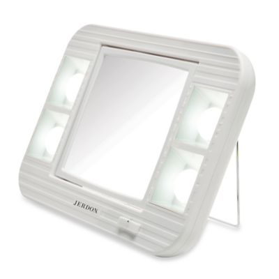 Buy Jerdon Tri Fold Lighted Magnification Mirror From Bed
