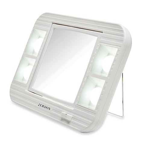 jerdon 5x 1x led lighted makeup mirror in white bed bath 85748
