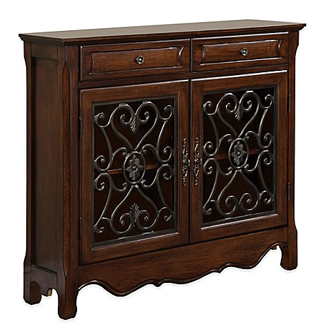 2 door 2 drawer scroll console in light cherry bed bath for Sofa table with drawers and doors