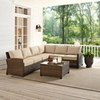 Crosley Bradenton 5-Piece Wicker Seating Set in Sand