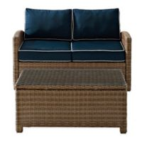Crosley Bradenton 2-Piece Wicker Loveseat Set in Navy