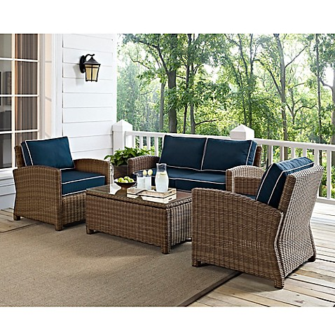 Crosley Bradenton 4 Piece Wicker Conversation Set Bed