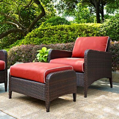 crosley kiawah 2piece wicker arm chair and ottoman set - Cheap Patio Furniture Sets