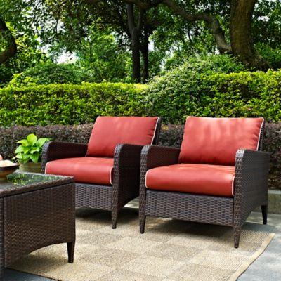 Brown Wicker Patio Furniture.Crosley Kiawah Wicker Arm Chairs Set Of 2