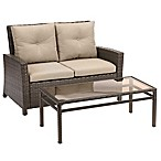 Barrington 2-Piece Wicker Loveseat Set in Sand