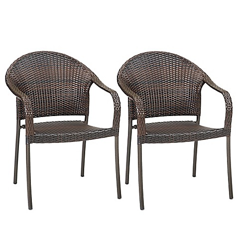 Barrington wicker stacking chairs set of 2 bed bath for Terrace chairs