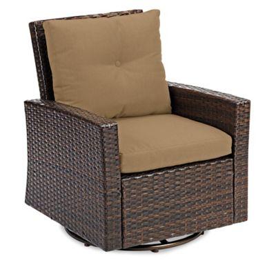Barrington Wicker Swivel Chair In Tan