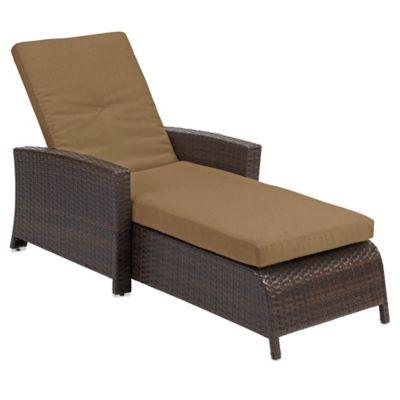 Barrington Wicker Padded Chaise Lounge In Tan