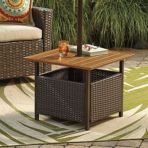 Stratford Wicker Umbrella Side Table Bed Bath Amp Beyond