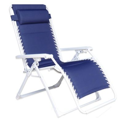 Deluxe Oversized Padded Adjustable Zero Gravity Chair In Blue