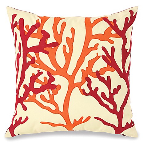 Bed Bath And Beyond Orange Throw Pillows : Embellished Fan Coral Outdoor Throw Pillow - Bed Bath & Beyond