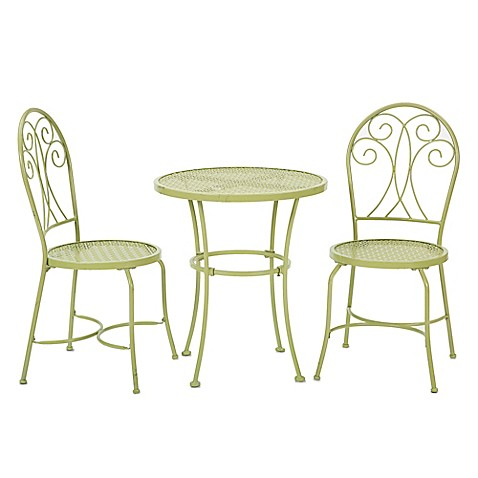 stamped metal 3 piece bistro set in green bed bath beyond. Black Bedroom Furniture Sets. Home Design Ideas