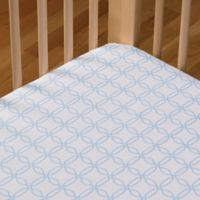 Living Textiles Baby Mix & Match Poplin Fitted Crib Sheet in Blue Links