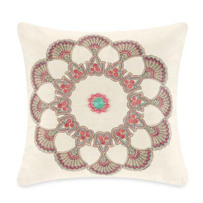 Echo Design Throw Pillows : Echo Design Guinevere Square Throw Pillow in Cream - Bed Bath & Beyond