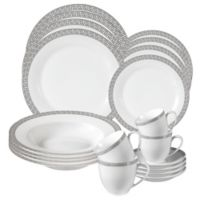 Lorren Home Trends Greek Key 24-Piece Dinnerware Set