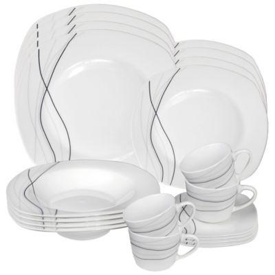 Lorren Home Trends Confetti 20-Piece Square Dinnerware Set in Grey  sc 1 st  Bed Bath \u0026 Beyond & Buy Black Square Dinnerware Sets from Bed Bath \u0026 Beyond