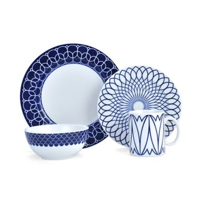 Mikasa® Lavina 4-Piece Place Setting in Cobalt  sc 1 st  Bed Bath \u0026 Beyond & Buy Porcelain Dinnerware Sets from Bed Bath \u0026 Beyond